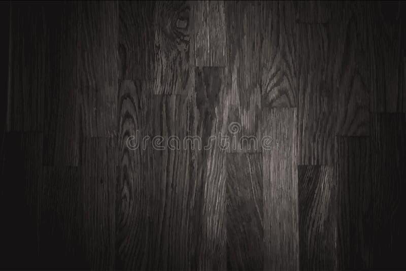 De zwarte achtergrond van de muur houten textuur stock illustratie