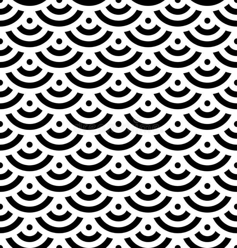 De zwarte achtergrond van de vissenschaal van concentrische cirkels Het abstracte naadloze patroon kijkt als overzeese golven Vec vector illustratie
