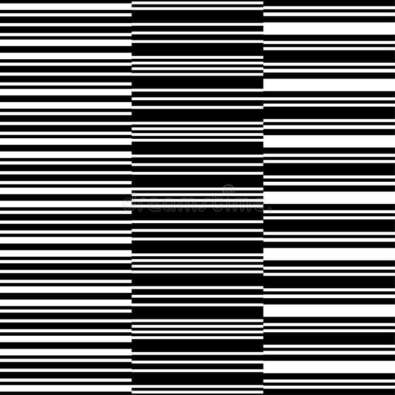 De zwarte achtergrond van het lijn naadloze patroon Modieuze decoratieve geplaatste strepen Geometrisch eenvoudig verticaal beeld royalty-vrije illustratie