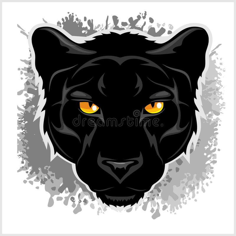 De zwarte achtergrond van Panter frontale grunge vector illustratie