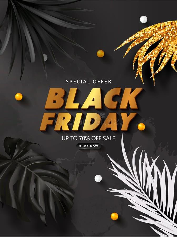 De zwarte achtergrond van de vrijdagverkoop met tropische bladeren Modern luxeontwerp Universele vectorachtergrond voor affiche,  vector illustratie