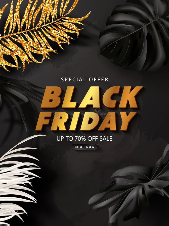 De zwarte achtergrond van de vrijdagverkoop met tropische bladeren Modern luxeontwerp Universele vectorachtergrond voor affiche,  stock illustratie