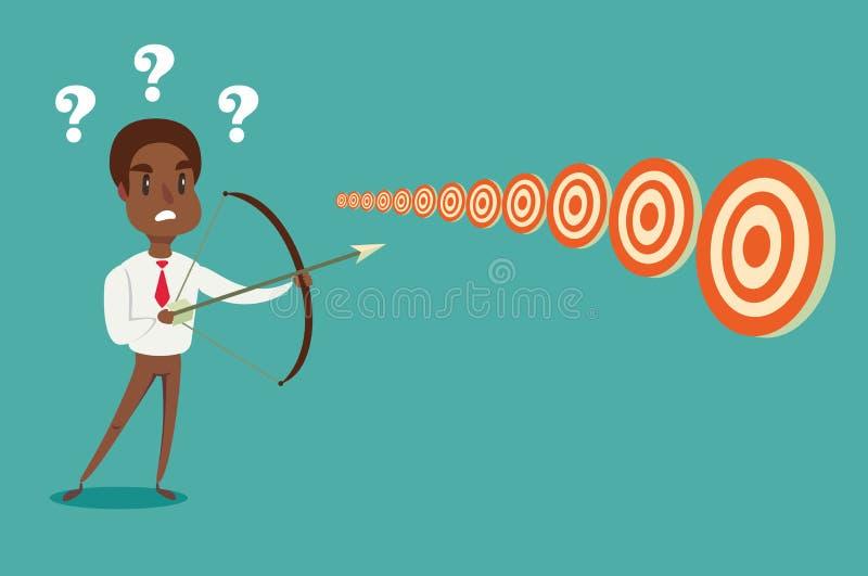 De zwarte Afrikaanse Amerikaanse zakenman met boog en de pijl bekijken veelvoudige doelstellingen Kan welk doel beslissen niet te royalty-vrije illustratie