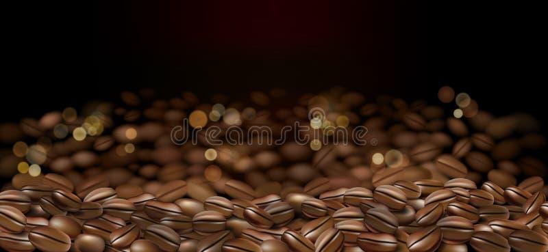 De zwarte Arabica advertenties van koffiebonen 3d abstracte illustratie van koffieachtergrond voor uw ontwerp met bokeh Vector stock illustratie