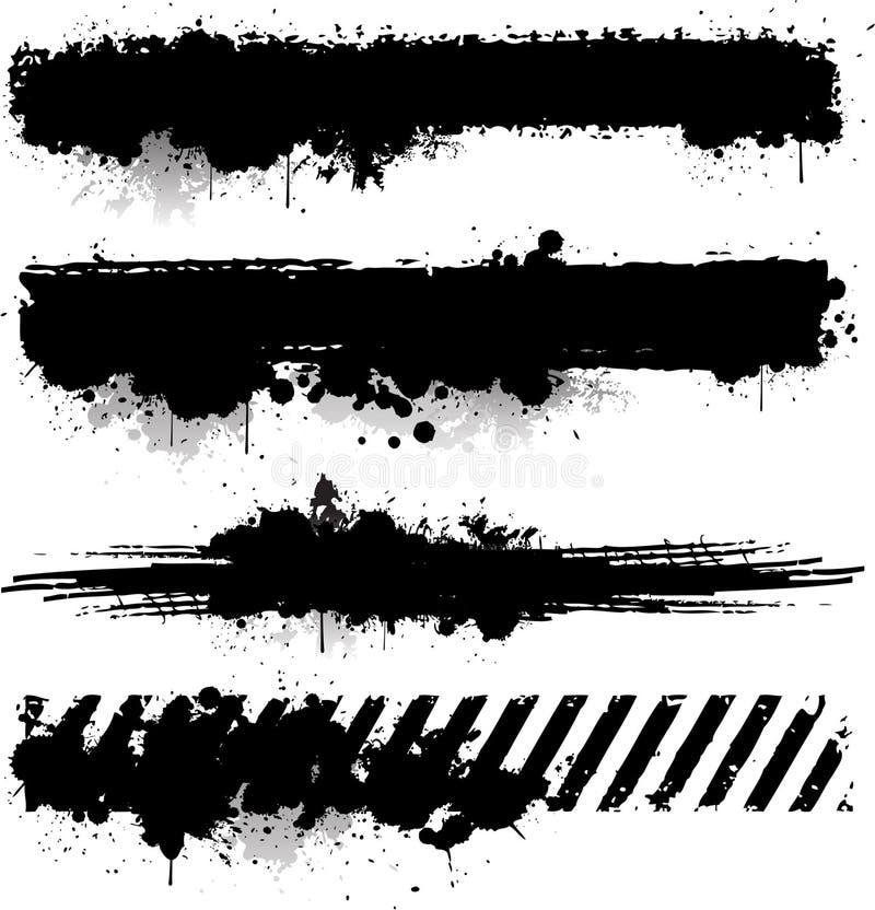 De zwarte banner van de inkttextuur royalty-vrije illustratie
