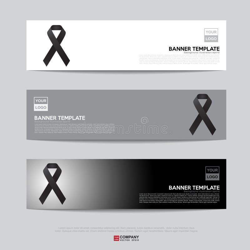 De zwarte banner van het voorlichtingslint stock illustratie