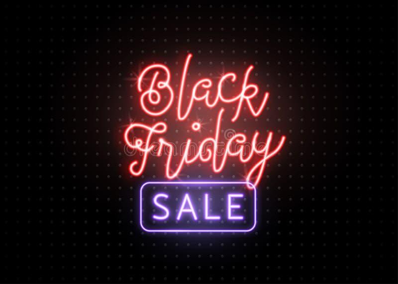 De zwarte Banner van de Verkoop van de Vrijdag De lichtgevende lichtrode en blauwe type van letters voorziende tekst ondertekent stock illustratie