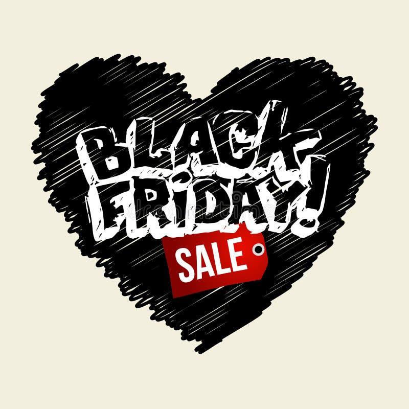 De zwarte banner van de vrijdag hand-drawn verkoop Vector Malplaatje stock illustratie