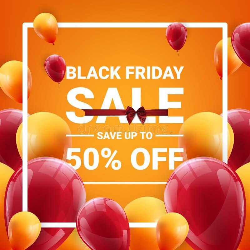 De zwarte banner van de vrijdagverkoop met rode en gele drijvende ballons Vector illustratie - Het vector royalty-vrije illustratie