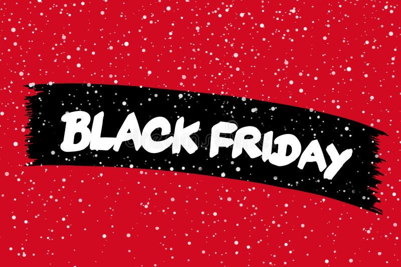 De zwarte banner van de vrijdagverkoop met witte teksten Moderne borstelkalligrafie Het winkelen kortingsbevordering Banner voor  stock foto