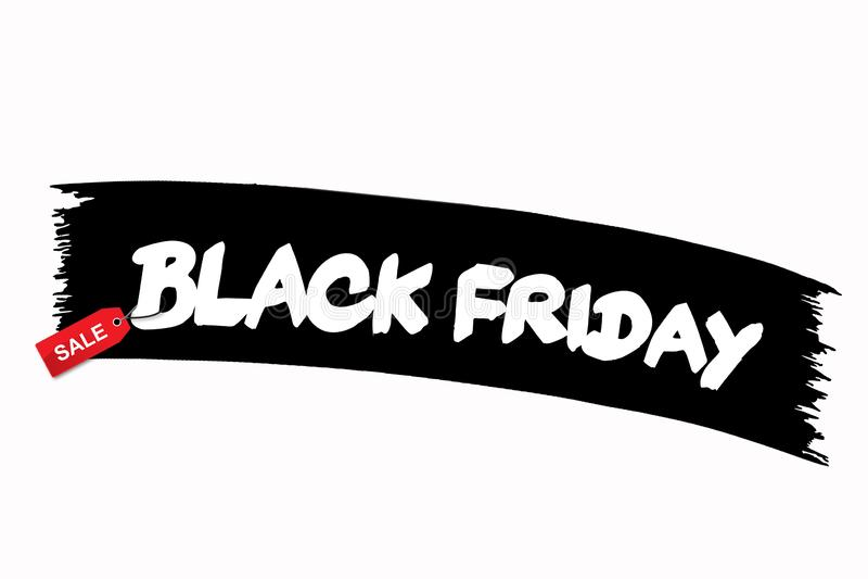 De zwarte banner van de vrijdagverkoop met witte teksten Moderne borstelkalligrafie Het winkelen kortingsbevordering Banner voor  stock fotografie