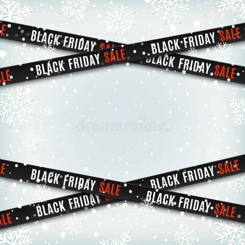 De zwarte banners van de vrijdagverkoop Waarschuwingsbanden, linten op de winterachtergrond royalty-vrije illustratie
