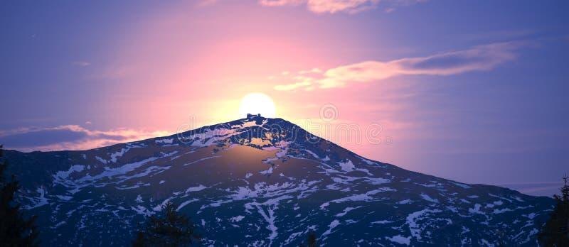 De Zwarte Berg van de zonsopgangmaan stock foto
