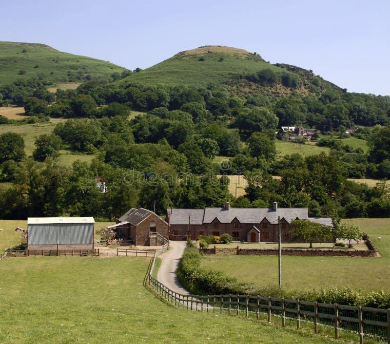 De zwarte bergen Wales het UK van het landbouwbedrijf stock afbeelding