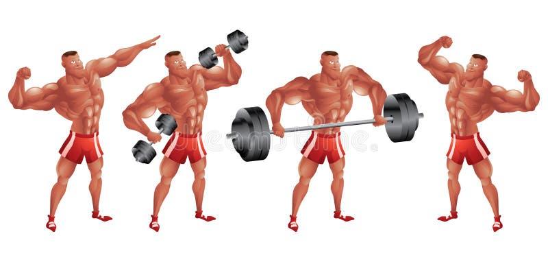 De zwarte bodybuilder in verschillend stelt stock illustratie