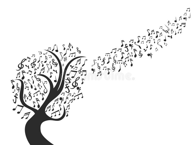 De zwarte boom van de muzieknota royalty-vrije illustratie