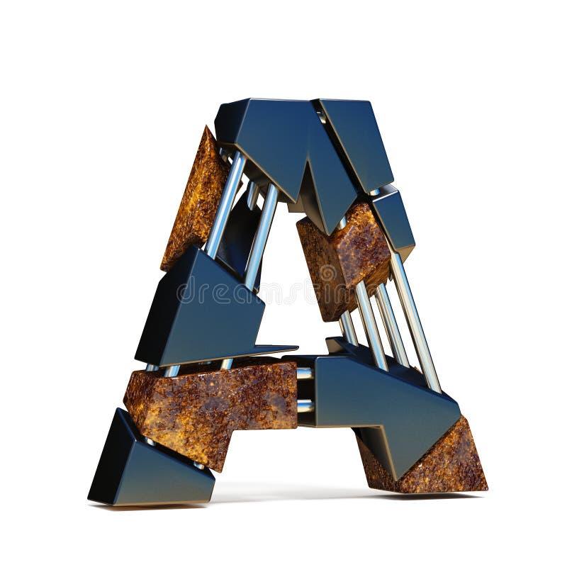 De zwarte bruine 3D BRIEF A van de breukdoopvont royalty-vrije illustratie