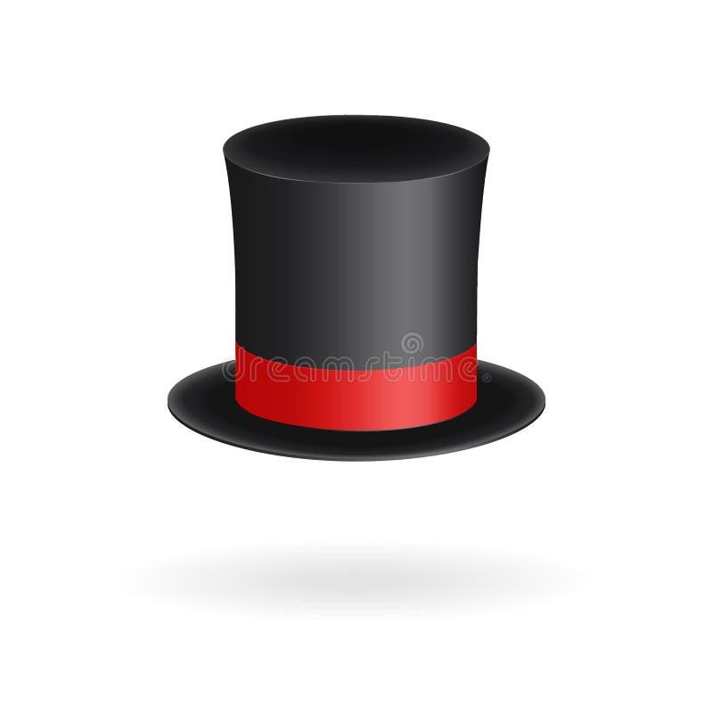 De zwarte cilinder van de herenhoed met rood lint Elegantie en aristrocratisch symbool Volumetrisch die pictogram op witte achter royalty-vrije illustratie