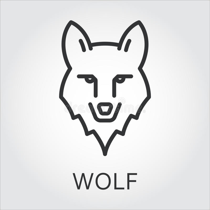 De zwarte de lijnkunst van de pictogramstijl, leidt wilde dierlijke wolf vector illustratie
