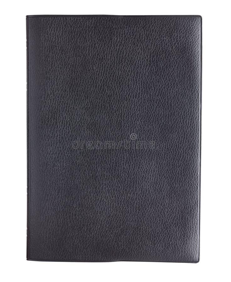 De zwarte die dekking van het leerboek op witte achtergrond wordt geïsoleerd stock foto