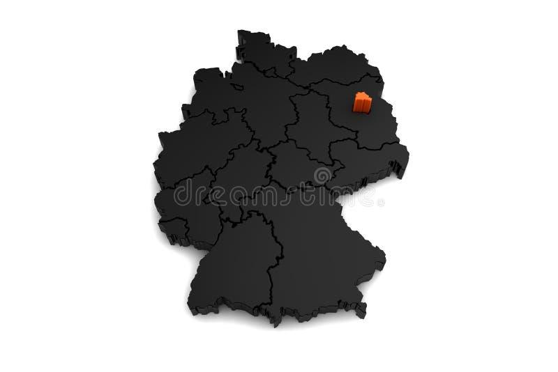 de zwarte die kaart van Duitsland, met het gebied van Berlijn, in sinaasappel wordt benadrukt vector illustratie