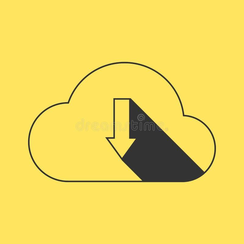 De zwarte download van de overzichtswolk op gele achtergrond vector illustratie