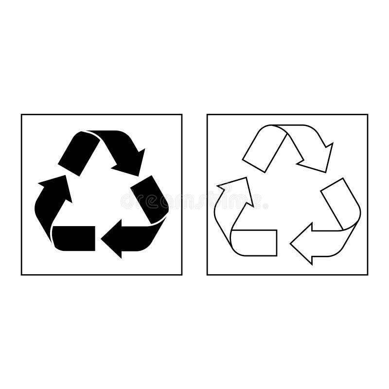 De zwarte drie die pijlen recycleren symbool op witte achtergrond wordt geïsoleerd Opnieuw te gebruiken tekenpictogram stock illustratie