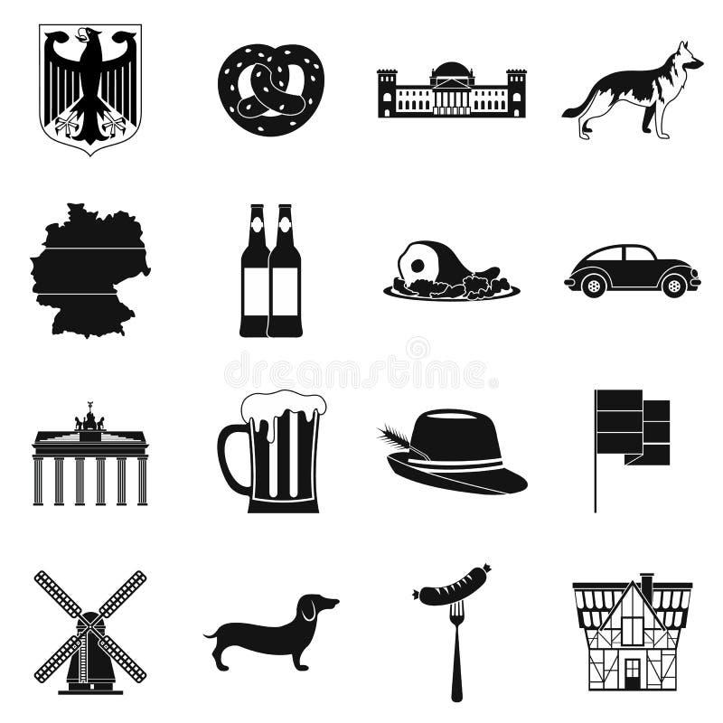De zwarte eenvoudige pictogrammen van Duitsland royalty-vrije illustratie