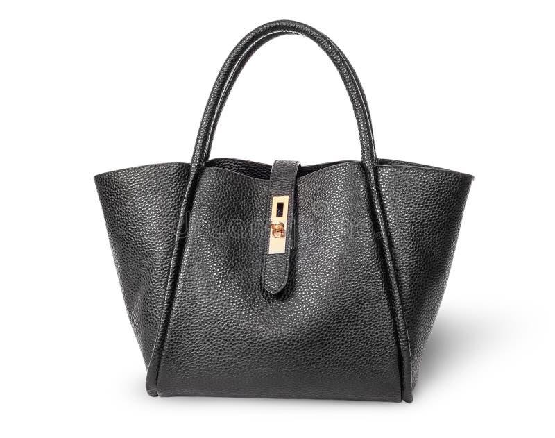De zwarte elegante handtas van leerdames stock foto