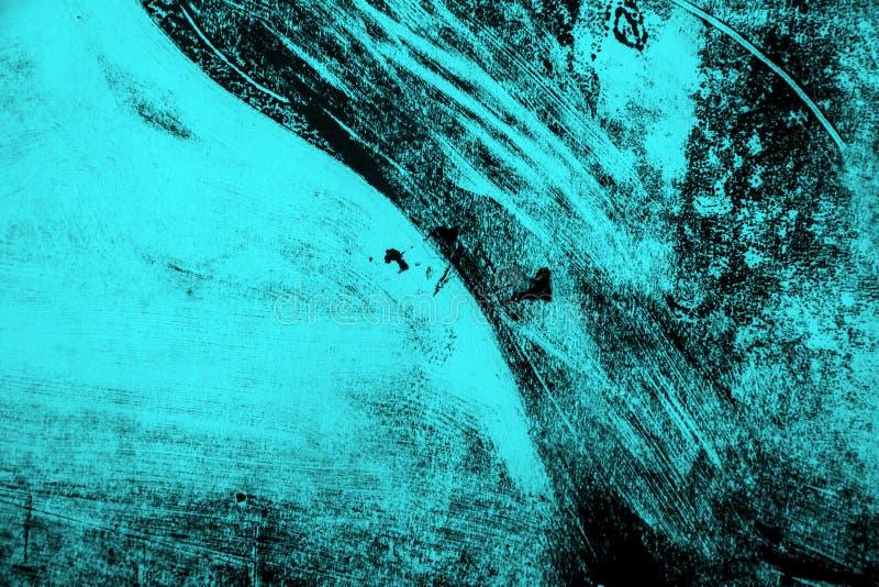 De zwarte en blauwe achtergrond van verfkwaststreken stock afbeelding