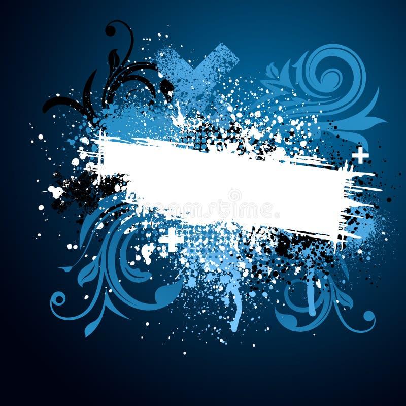 De zwarte en blauwe bloemenverf ploetert vector illustratie