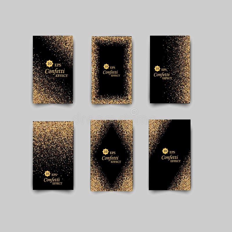 De zwarte en gouden achtergrond met schittert kader en ruimte voor tekst De vector schittert decoratie, gouden stof vector illustratie