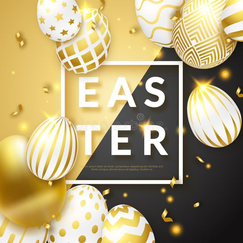 De zwarte en gouden achtergrond van Pasen met realistische gouden verfraaide eieren, kader, teksten en linten Vector illustratie royalty-vrije illustratie