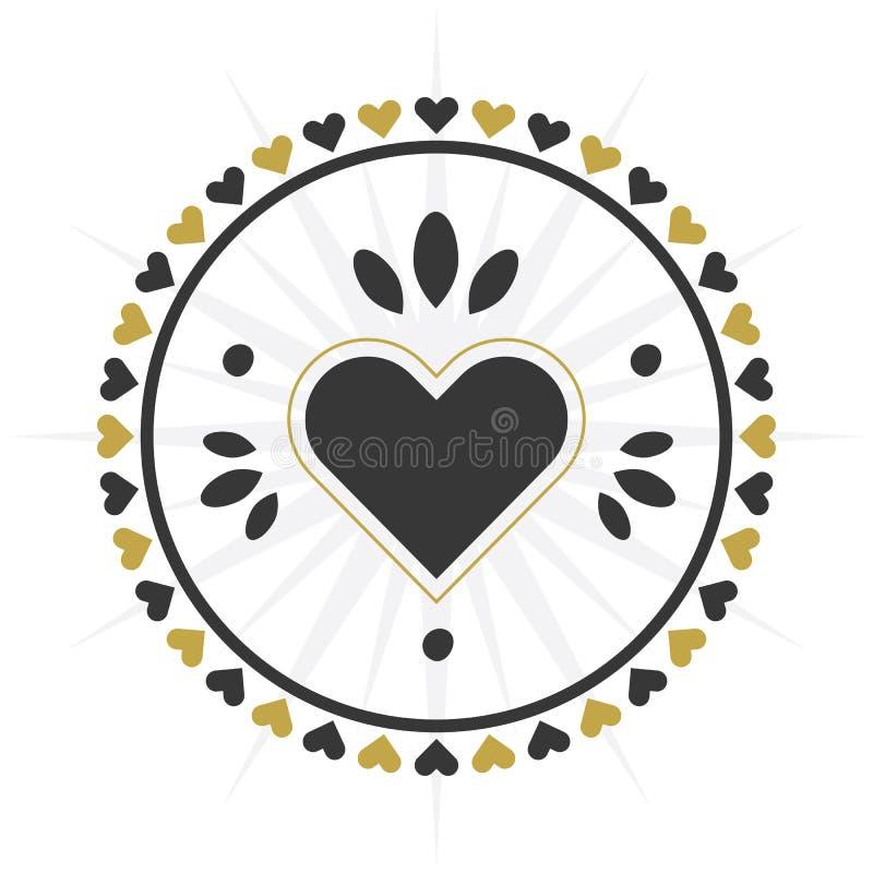 De zwarte en gouden grens van het cirkelhart met de grenspictogram van het hartenpatroon royalty-vrije illustratie