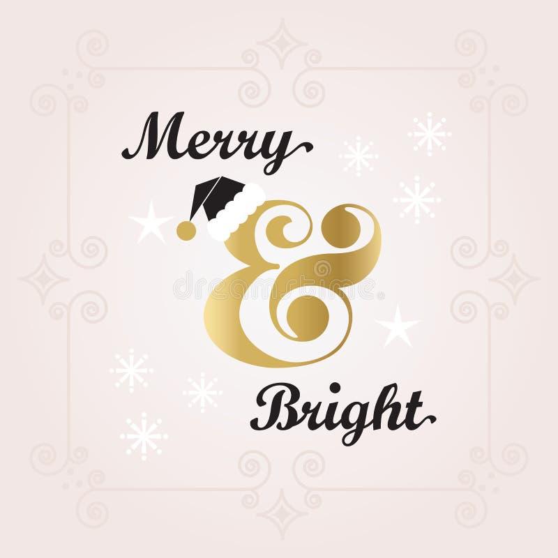 De zwarte en gouden Vrolijke & Heldere Kerstkaart van de Vakantiedecoratie royalty-vrije illustratie