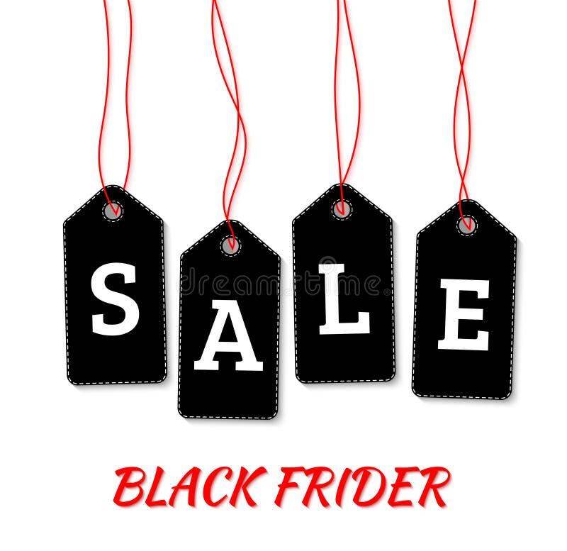 De zwarte etiketten van de vrijdagverkoop op witte vector als achtergrond vector illustratie