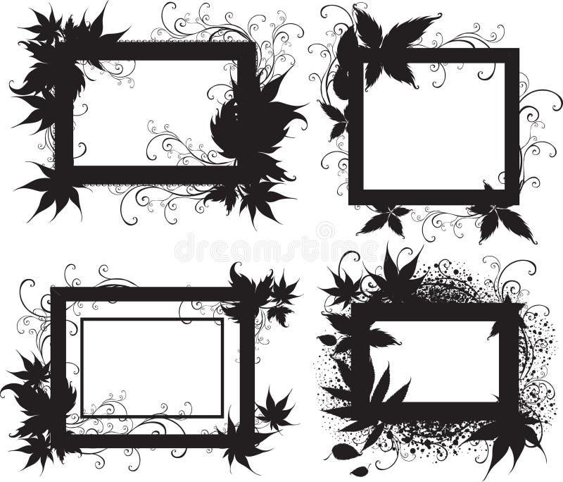 De Zwarte Frames Met De Herfst Doorbladert. Dankzegging Stock Foto's