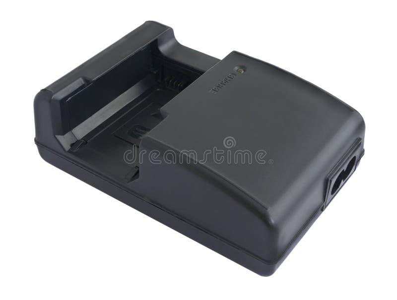 De zwarte geïsoleerde camera van de batterijlader stock afbeelding