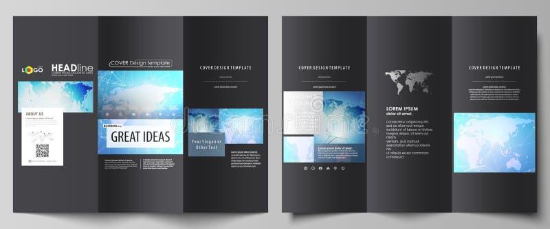 De zwarte gekleurde minimalistic vectorillustratie van de editable lay-out van twee creatieve dekking van de trifoldbrochure vector illustratie