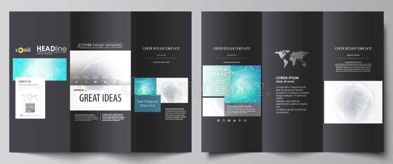 De zwarte gekleurde minimalistic vectorillustratie van de editable lay-out van twee creatieve dekking van de trifoldbrochure royalty-vrije illustratie