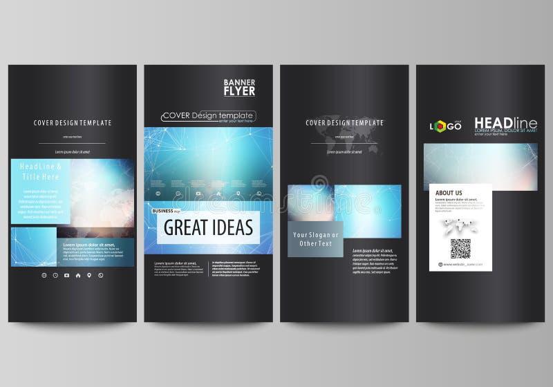 De zwarte gekleurde minimalistic vectorillustratie van de editable lay-out van vier verticale banners, vliegersontwerp vector illustratie