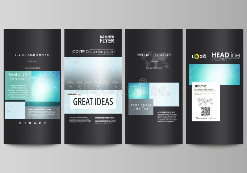De zwarte gekleurde minimalistic vectorillustratie van de editable lay-out van vier verticale banners, vliegersontwerp royalty-vrije illustratie