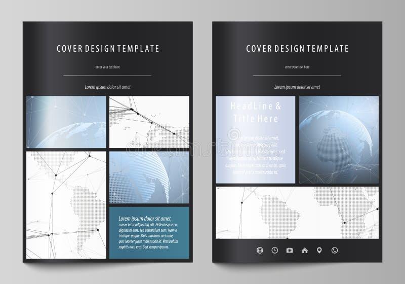 De zwarte gekleurde vectorillustratie van de editable lay-out van A4 formaat behandelt ontwerpmalplaatjes voor brochure, vlieger vector illustratie