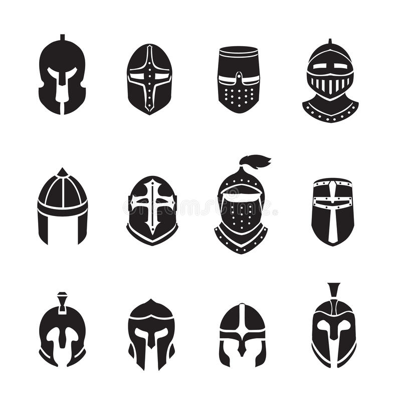 De zwarte geplaatste pictogrammen of de emblemen van strijdershelmen Ridderpantser, vectorillustratie royalty-vrije illustratie