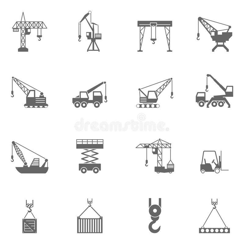 De zwarte geplaatste pictogrammen van de bouwconstructiekraan stock illustratie