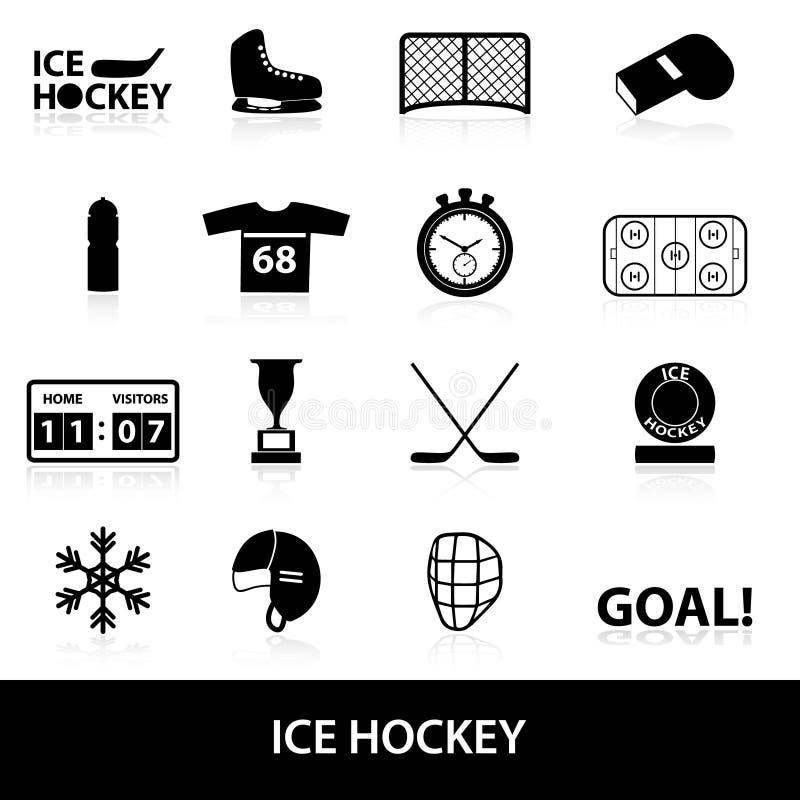 De zwarte geplaatste pictogrammen van de ijshockeysport royalty-vrije illustratie