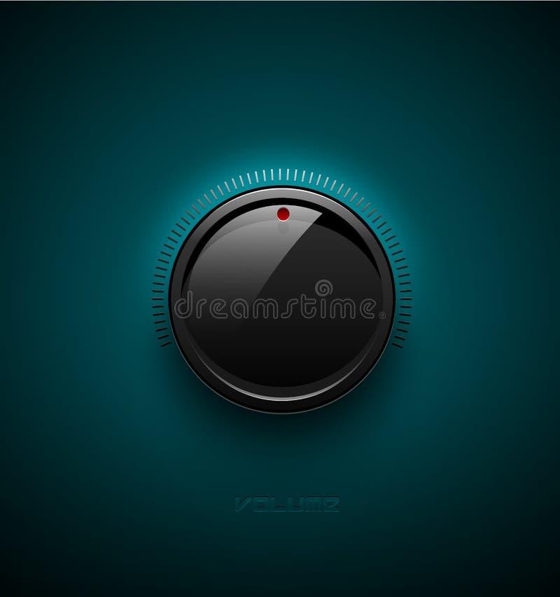 De zwarte glanzende interfaceknoop voor volumecontrole met denkt na en stelt in de schaduw Vector illustratie Correct pictogram,  royalty-vrije illustratie