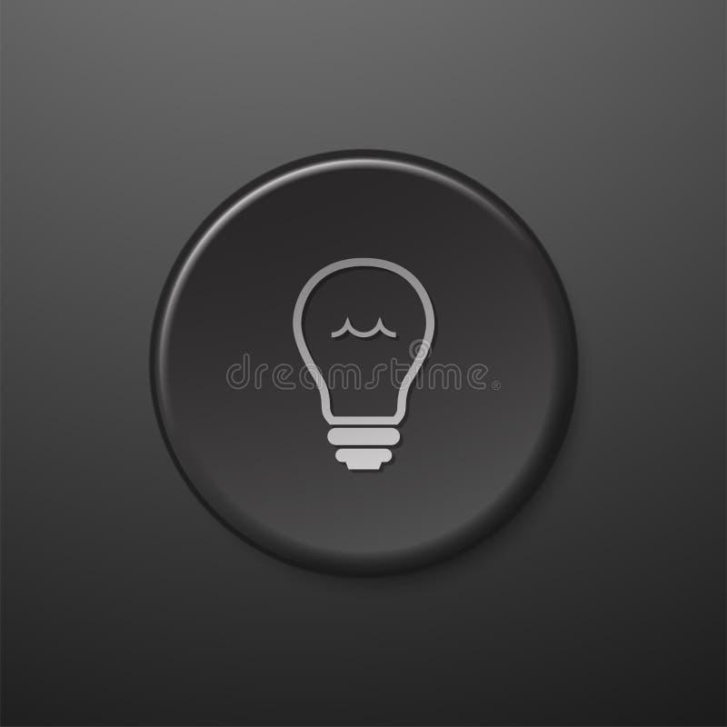 De zwarte gloeilamp van het Webpictogram stock illustratie