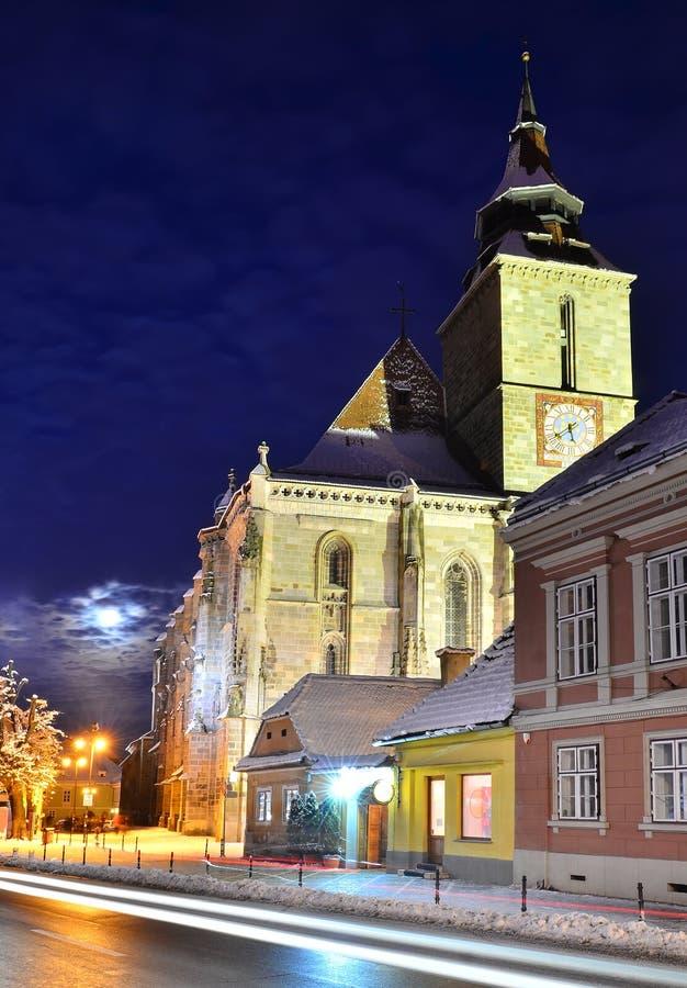 De zwarte gotische stijl van de Kerk churc, Brasov stock foto's