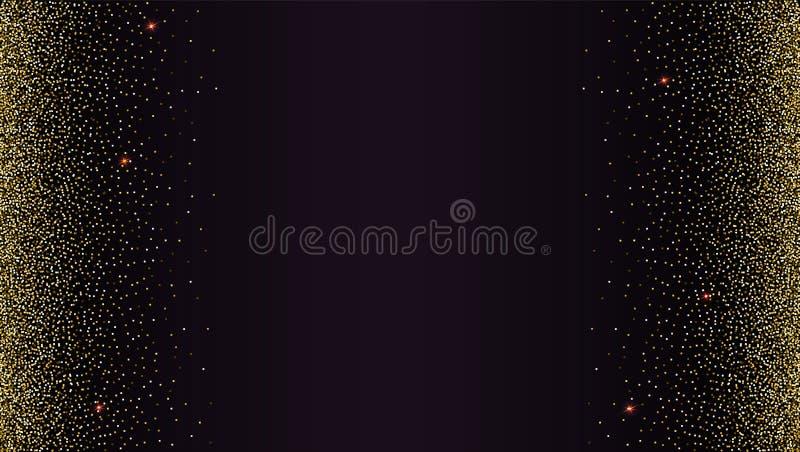 De zwarte gradiëntachtergrond met gouden, glanzend, schittert stof Abstract metaalpatroon Horizontale omlijsting malplaatje stock illustratie